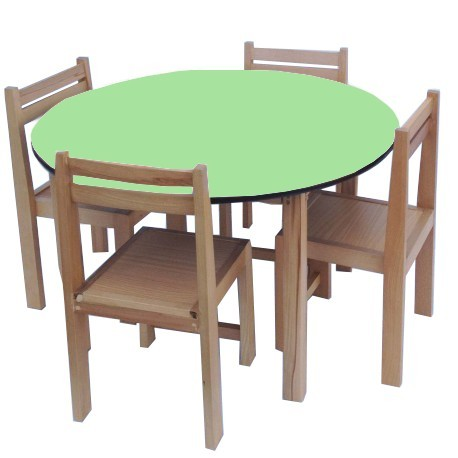 Round Table and Chairs Set Hire Green Top