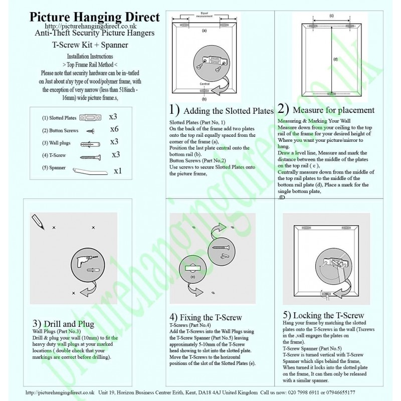 Picture Hanging Security Picture Frame Security Kit T Screw Key Spanner