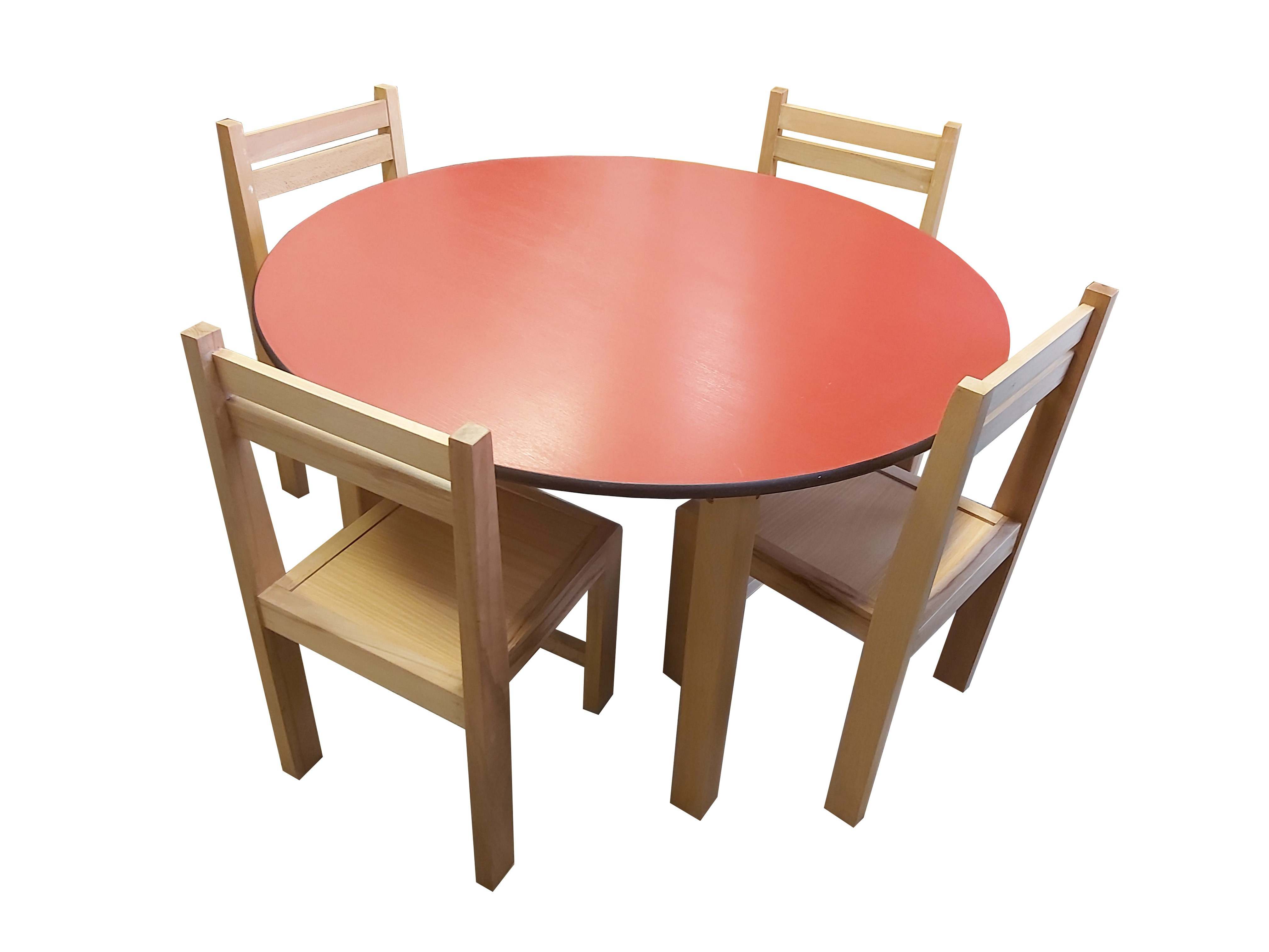 Kids Wooden Round Table And 4 Chair Set Red Top Phd London Uk